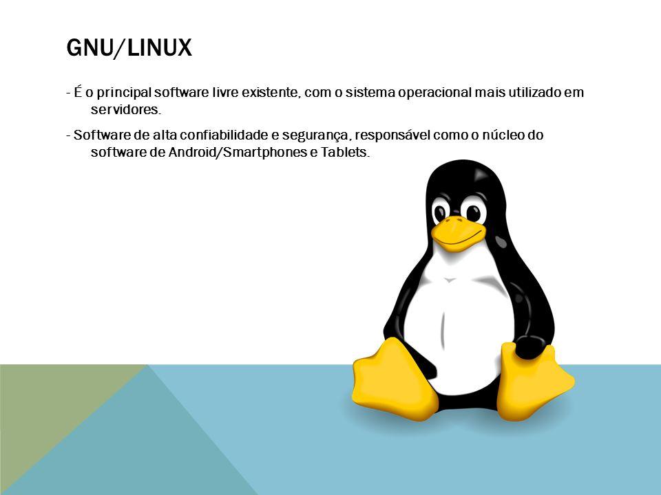 GNU/LINUX - É o principal software livre existente, com o sistema operacional mais utilizado em servidores.