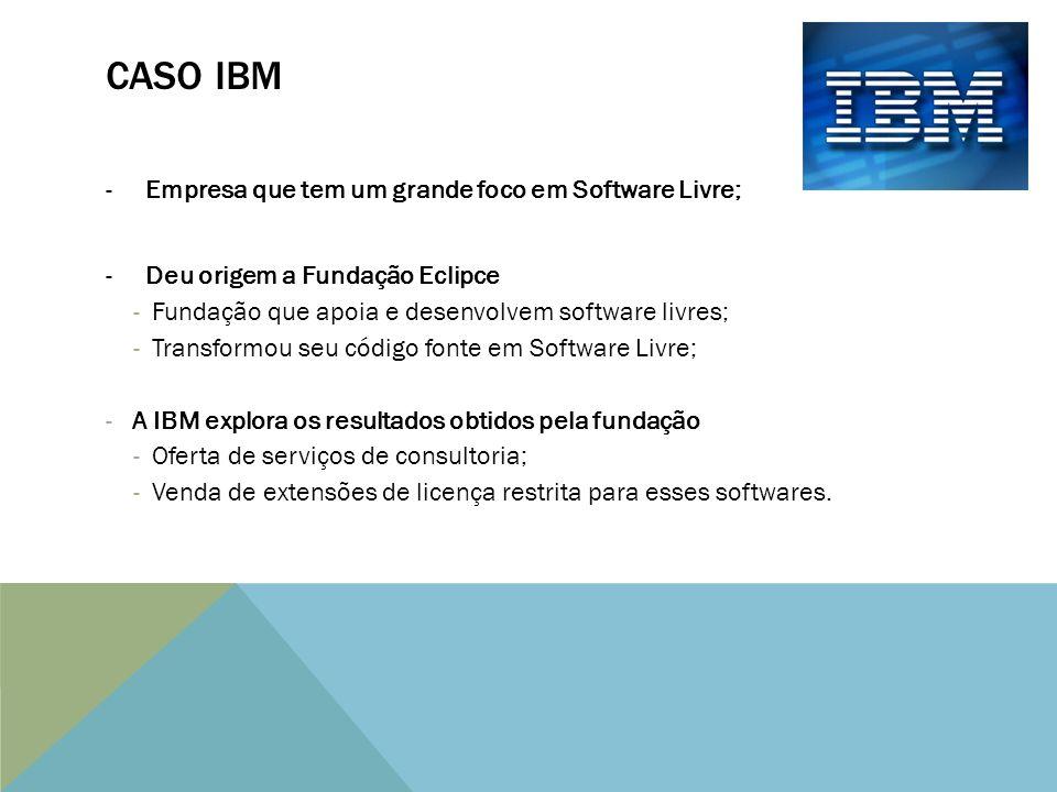CASO IBM -Empresa que tem um grande foco em Software Livre; -Deu origem a Fundação Eclipce -Fundação que apoia e desenvolvem software livres; -Transformou seu código fonte em Software Livre; - A IBM explora os resultados obtidos pela fundação -Oferta de serviços de consultoria; -Venda de extensões de licença restrita para esses softwares.