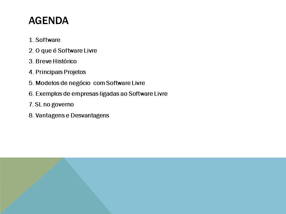 AGENDA 1.Software 2. O que é Software Livre 3. Breve Histórico 4.