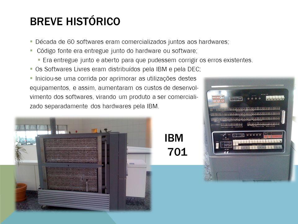 Década de 60 softwares eram comercializados juntos aos hardwares; Código fonte era entregue junto do hardware ou software; Era entregue junto e aberto para que pudessem corrigir os erros existentes.
