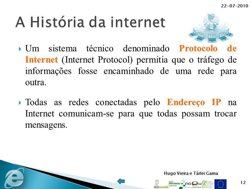 Hugo Vieira e Tárlei Gama Um sistema técnico denominado Protocolo de Internet (Internet Protocol) permitia que o tráfego de informações fosse encaminh
