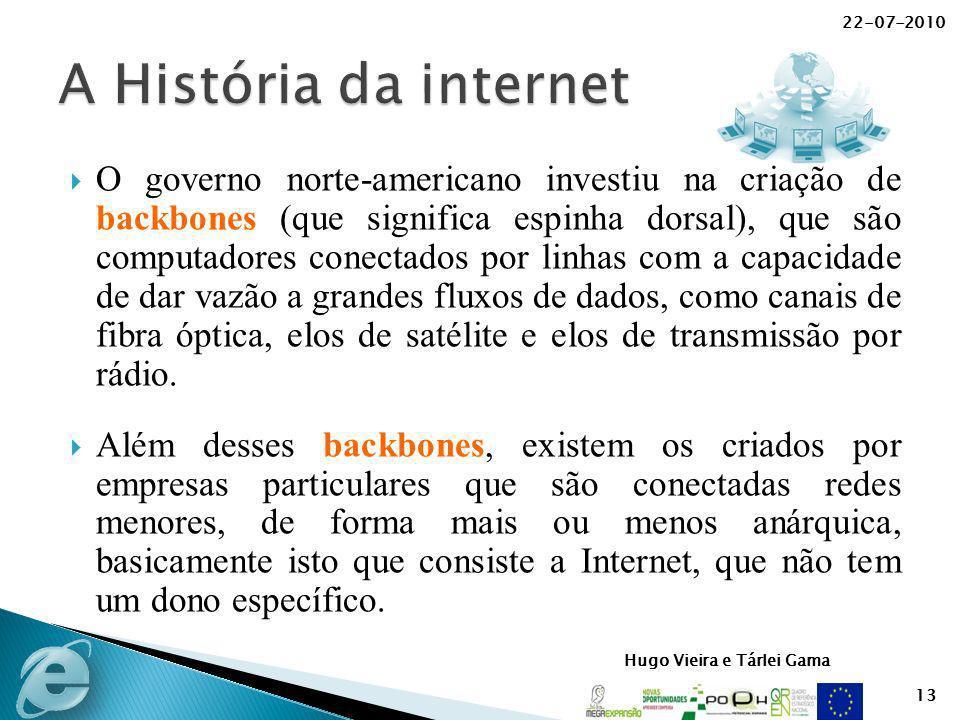 Hugo Vieira e Tárlei Gama O governo norte-americano investiu na criação de backbones (que significa espinha dorsal), que são computadores conectados p