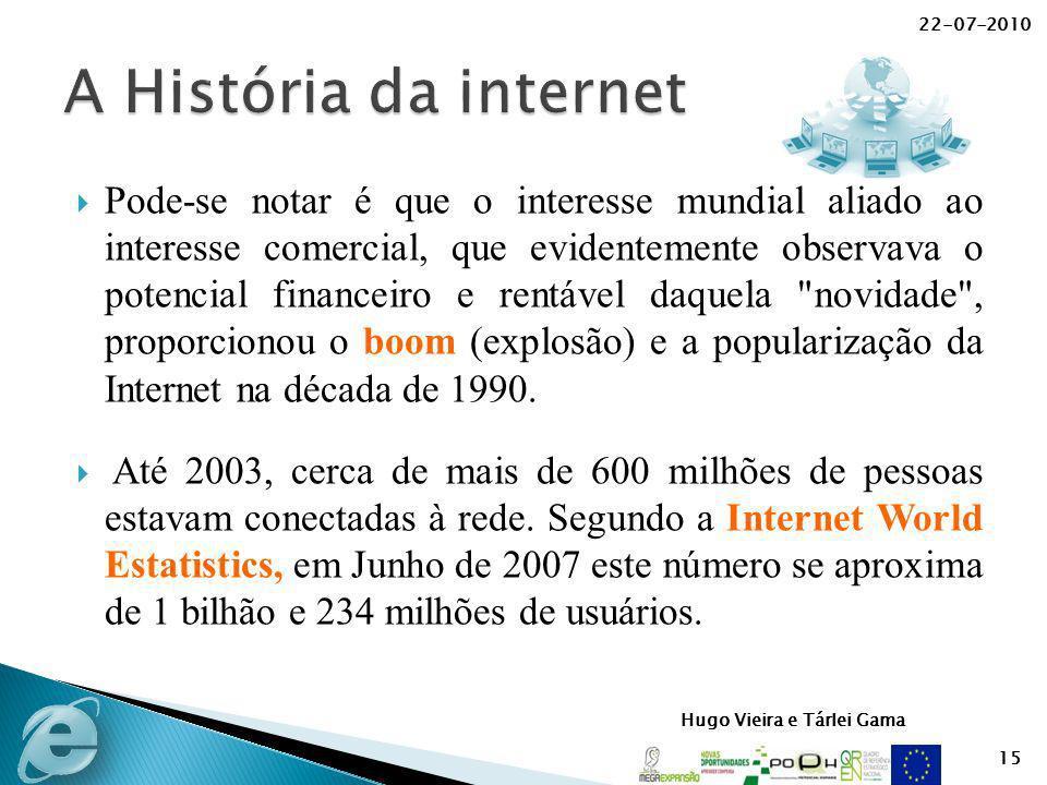 Hugo Vieira e Tárlei Gama Pode-se notar é que o interesse mundial aliado ao interesse comercial, que evidentemente observava o potencial financeiro e