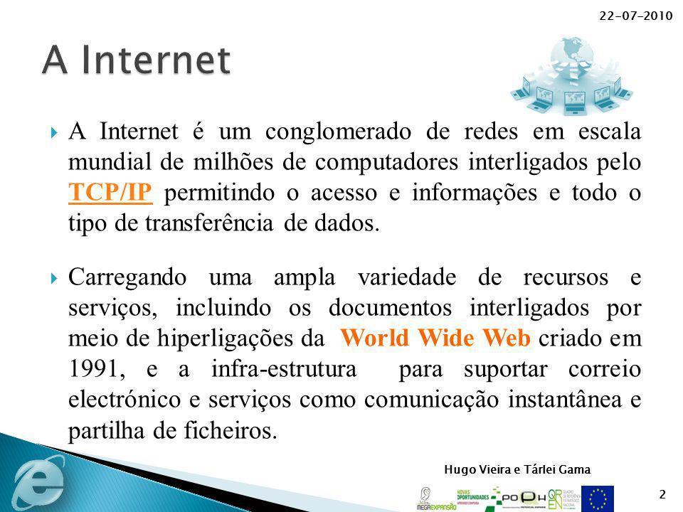 22-07-2010 2 A Internet é um conglomerado de redes em escala mundial de milhões de computadores interligados pelo TCP/IP permitindo o acesso e informa