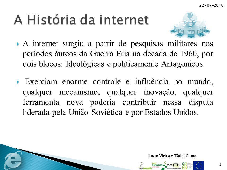 Hugo Vieira e Tárlei Gama A internet surgiu a partir de pesquisas militares nos períodos áureos da Guerra Fria na década de 1960, por dois blocos: Ide