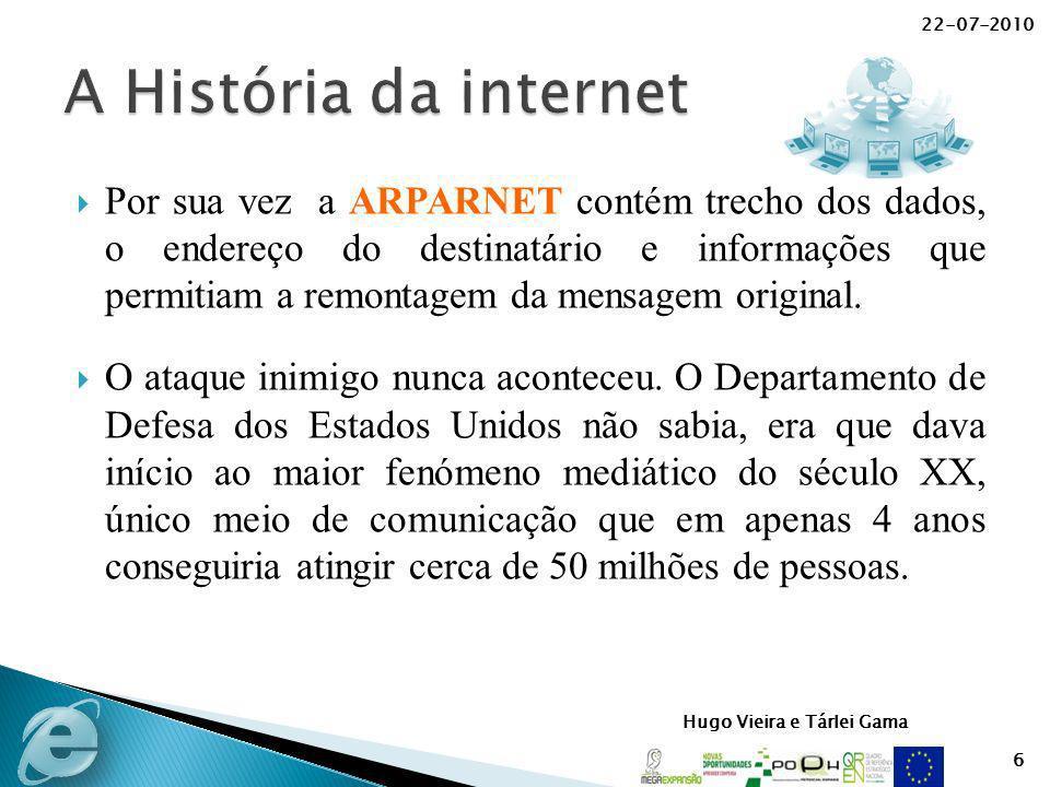 Hugo Vieira e Tárlei Gama Por sua vez a ARPARNET contém trecho dos dados, o endereço do destinatário e informações que permitiam a remontagem da mensa