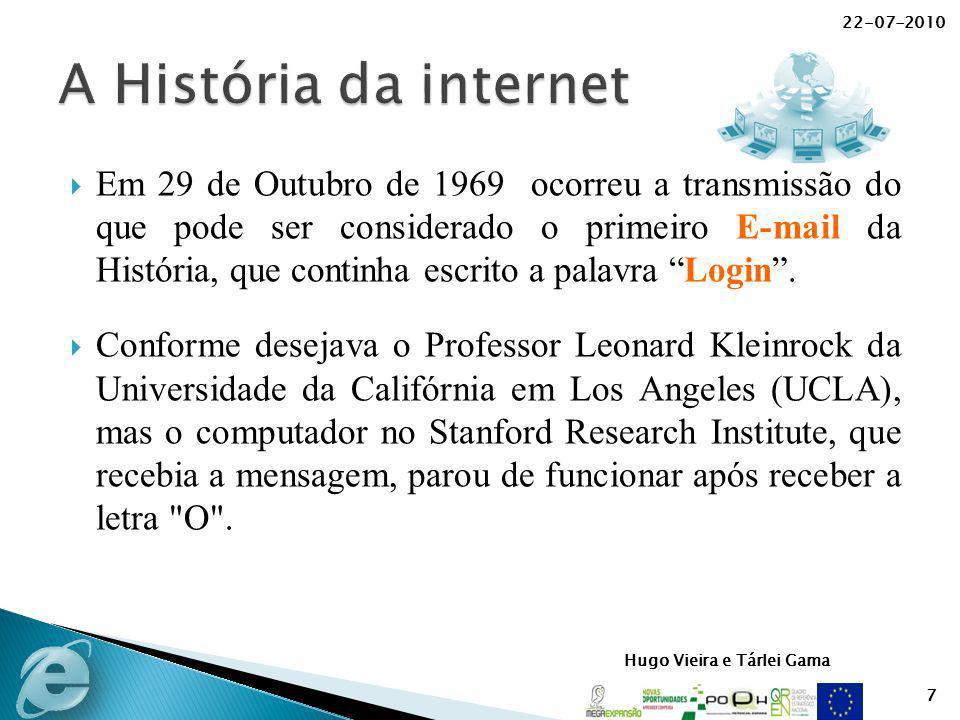 Hugo Vieira e Tárlei Gama Em 29 de Outubro de 1969 ocorreu a transmissão do que pode ser considerado o primeiro E-mail da História, que continha escri