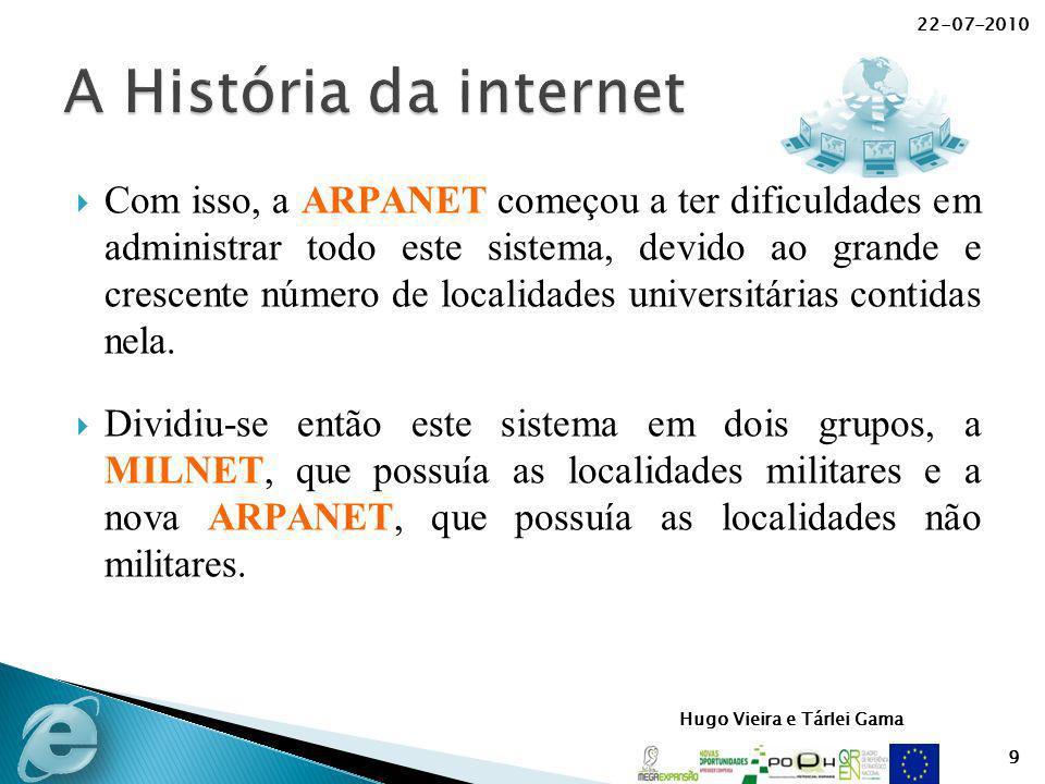Hugo Vieira e Tárlei Gama Com isso, a ARPANET começou a ter dificuldades em administrar todo este sistema, devido ao grande e crescente número de loca