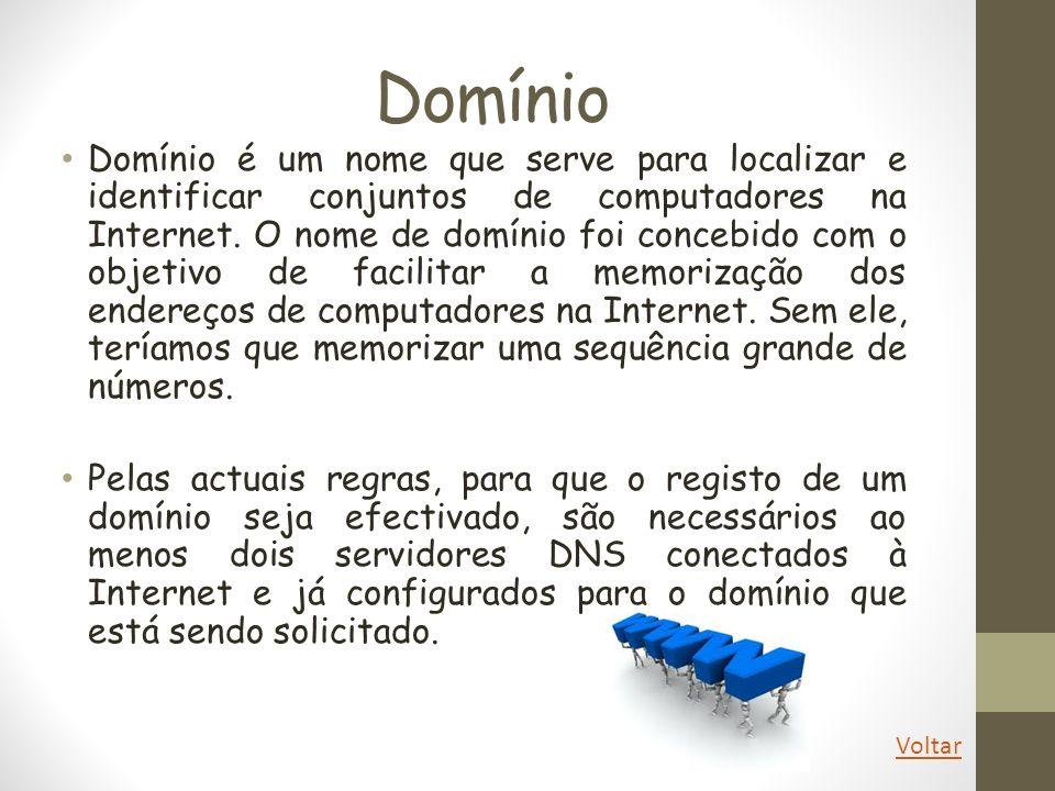 Domínio Domínio é um nome que serve para localizar e identificar conjuntos de computadores na Internet. O nome de domínio foi concebido com o objetivo