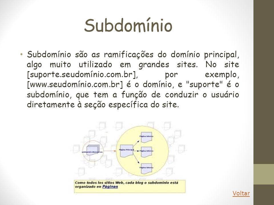 Subdomínio Subdomínio são as ramificações do domínio principal, algo muito utilizado em grandes sites. No site [suporte.seudomínio.com.br], por exempl