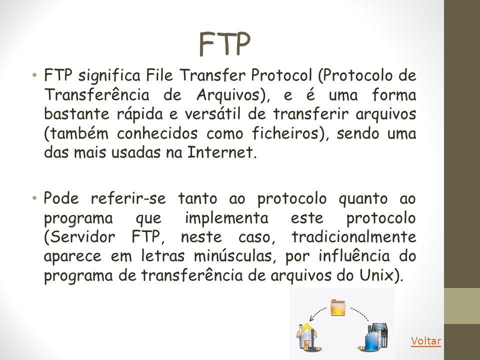 FTP FTP significa File Transfer Protocol (Protocolo de Transferência de Arquivos), e é uma forma bastante rápida e versátil de transferir arquivos (ta