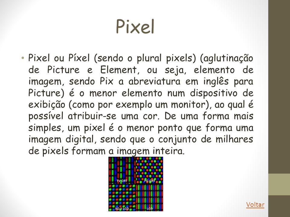 Pixel Pixel ou Píxel (sendo o plural pixels) (aglutinação de Picture e Element, ou seja, elemento de imagem, sendo Pix a abreviatura em inglês para Pi