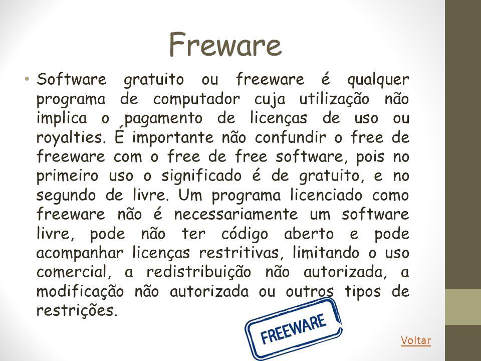 Freware Software gratuito ou freeware é qualquer programa de computador cuja utilização não implica o pagamento de licenças de uso ou royalties. É imp