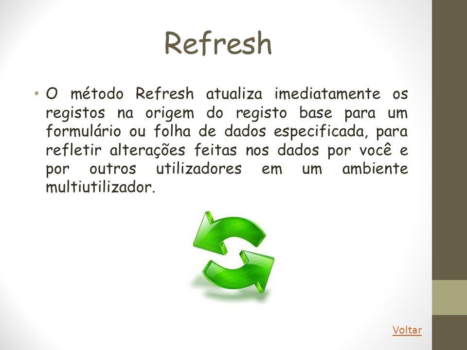 Refresh O método Refresh atualiza imediatamente os registos na origem do registo base para um formulário ou folha de dados especificada, para refletir
