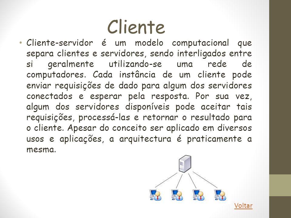 Cliente Cliente-servidor é um modelo computacional que separa clientes e servidores, sendo interligados entre si geralmente utilizando-se uma rede de