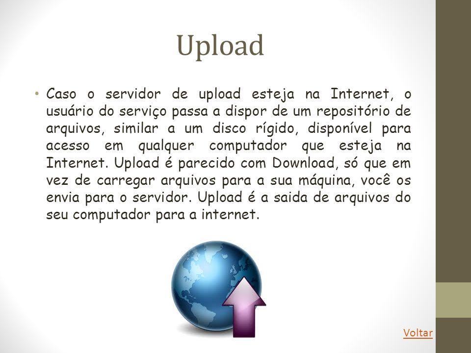 Download O uso mais comum do termo download está relacionado com a obtenção de conteúdo da Internet, onde um servidor remoto hospeda dados que são acessados pelos clientes através de aplicativos específicos, como é o caso dos navegadores.