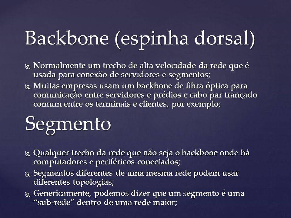 Backbone (espinha dorsal) Normalmente um trecho de alta velocidade da rede que é usada para conexão de servidores e segmentos; Normalmente um trecho d