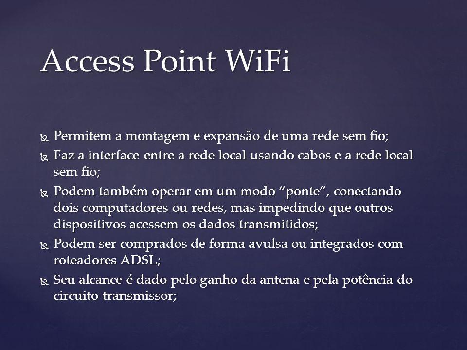 Access Point WiFi Permitem a montagem e expansão de uma rede sem fio; Permitem a montagem e expansão de uma rede sem fio; Faz a interface entre a rede local usando cabos e a rede local sem fio; Faz a interface entre a rede local usando cabos e a rede local sem fio; Podem também operar em um modo ponte, conectando dois computadores ou redes, mas impedindo que outros dispositivos acessem os dados transmitidos; Podem também operar em um modo ponte, conectando dois computadores ou redes, mas impedindo que outros dispositivos acessem os dados transmitidos; Podem ser comprados de forma avulsa ou integrados com roteadores ADSL; Podem ser comprados de forma avulsa ou integrados com roteadores ADSL; Seu alcance é dado pelo ganho da antena e pela potência do circuito transmissor; Seu alcance é dado pelo ganho da antena e pela potência do circuito transmissor;