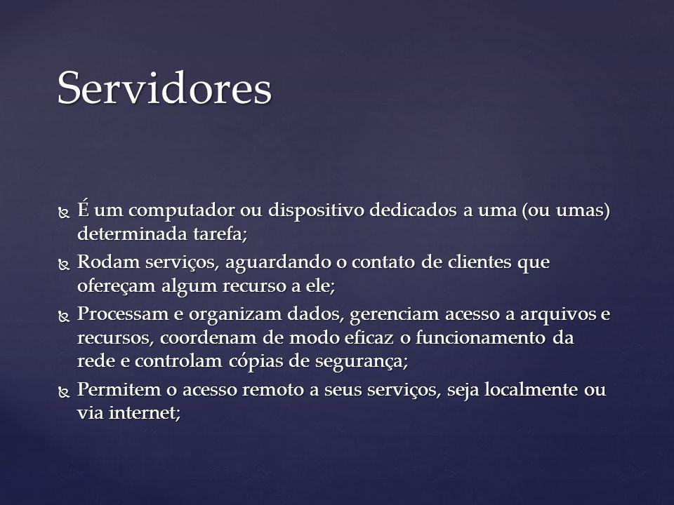 Servidores É um computador ou dispositivo dedicados a uma (ou umas) determinada tarefa; É um computador ou dispositivo dedicados a uma (ou umas) deter