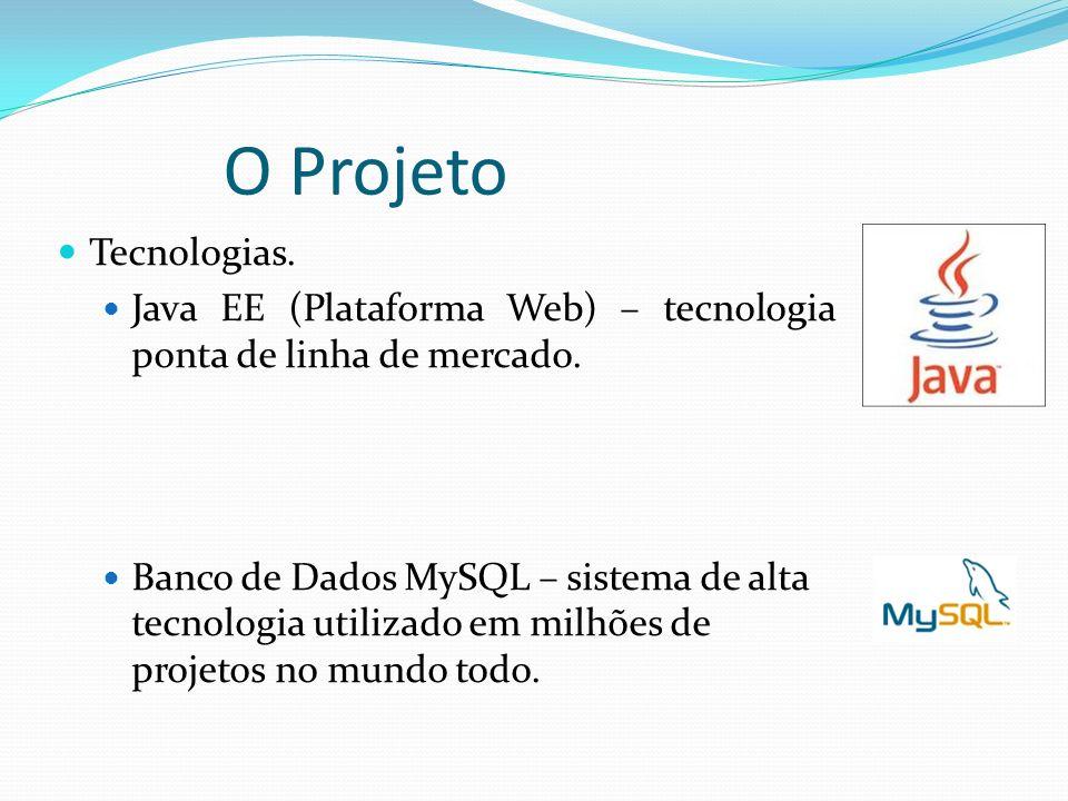 O Projeto Tecnologias. Java EE (Plataforma Web) – tecnologia ponta de linha de mercado. Banco de Dados MySQL – sistema de alta tecnologia utilizado em