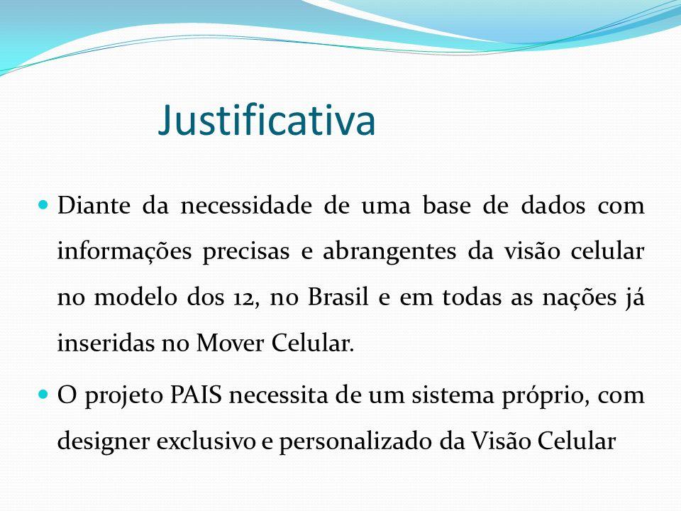Justificativa Diante da necessidade de uma base de dados com informações precisas e abrangentes da visão celular no modelo dos 12, no Brasil e em toda