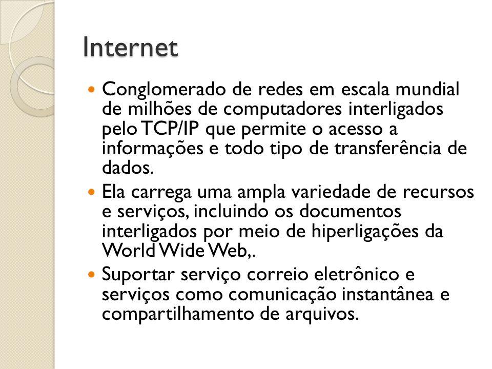 Internet Conglomerado de redes em escala mundial de milhões de computadores interligados pelo TCP/IP que permite o acesso a informações e todo tipo de