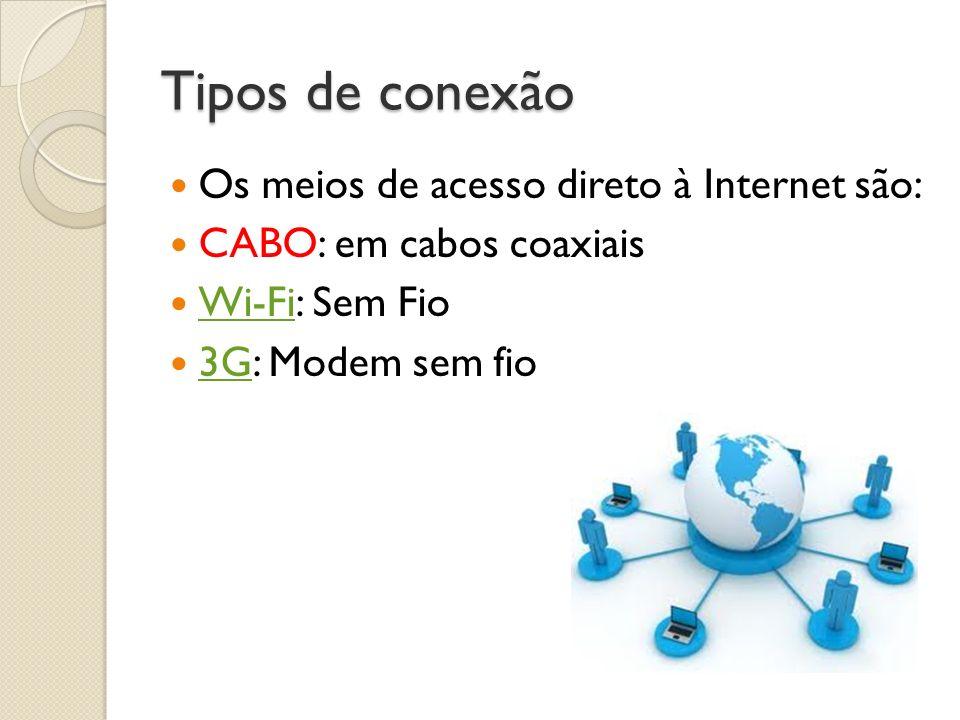 Tipos de conexão Os meios de acesso direto à Internet são: CABO: em cabos coaxiais Wi-Fi: Sem Fio Wi-Fi 3G: Modem sem fio 3G