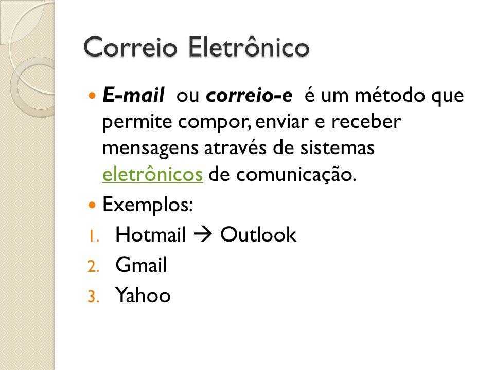 Correio Eletrônico E-mail ou correio-e é um método que permite compor, enviar e receber mensagens através de sistemas eletrônicos de comunicação. elet