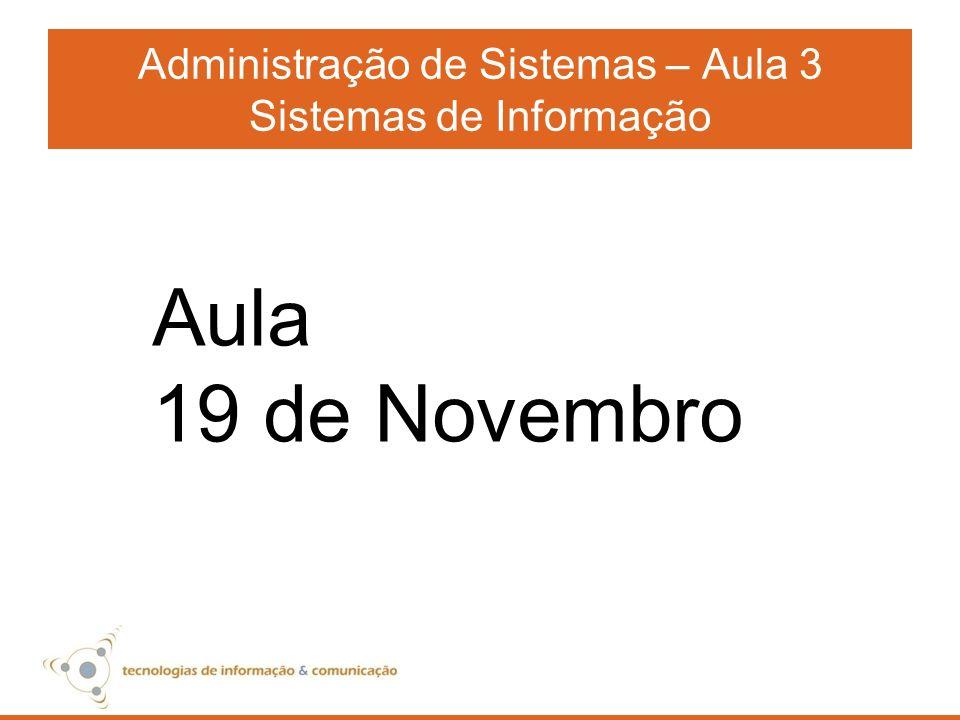 Administração de Sistemas – Aula 3 Sistemas de Informação Aula 19 de Novembro