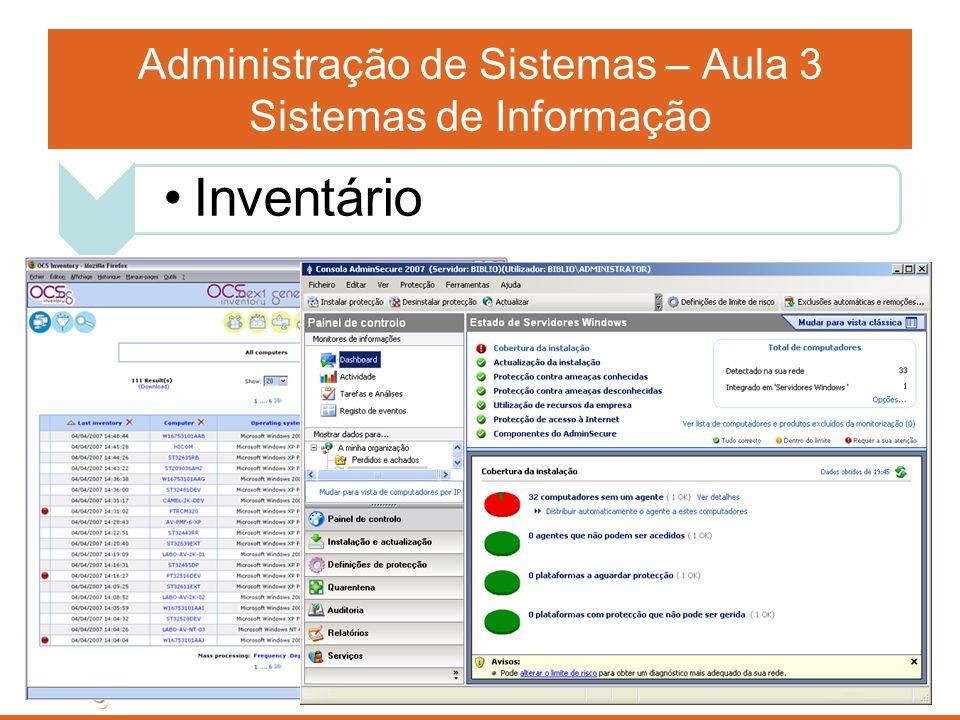 Administração de Sistemas – Aula 3 Sistemas de Informação Inventário completo de todo o Hardware, Software, contratos de prestação de serviços na área