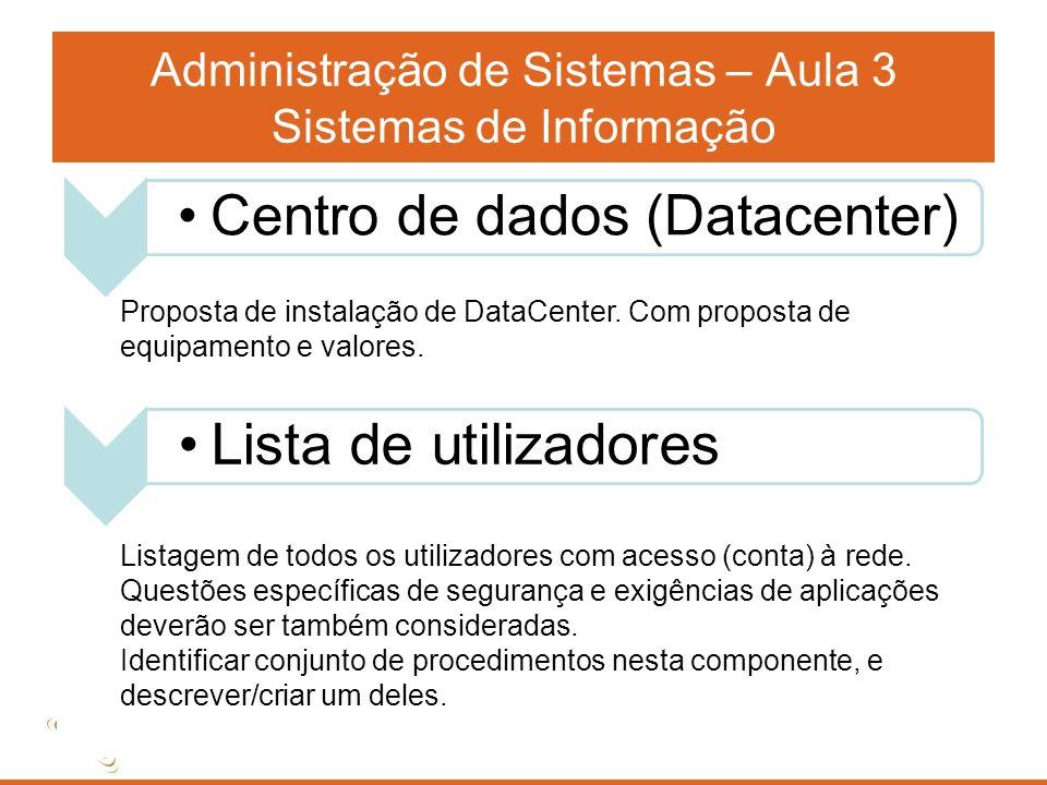 Administração de Sistemas – Aula 3 Sistemas de Informação Proposta de instalação de DataCenter. Com proposta de equipamento e valores. Listagem de tod