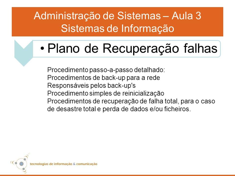 Administração de Sistemas – Aula 3 Sistemas de Informação Procedimento passo-a-passo detalhado: Procedimentos de back-up para a rede Responsáveis pelo