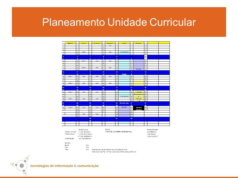 Planeamento Unidade Curricular Setembro Outubro Novembro Dezembro Janeiro Fevereiro 1 1Aula 1 2 2 2 3 1 3 3 4 2Aula6 4Aula1Ava.Continua 4 5 3 5 2 5 6