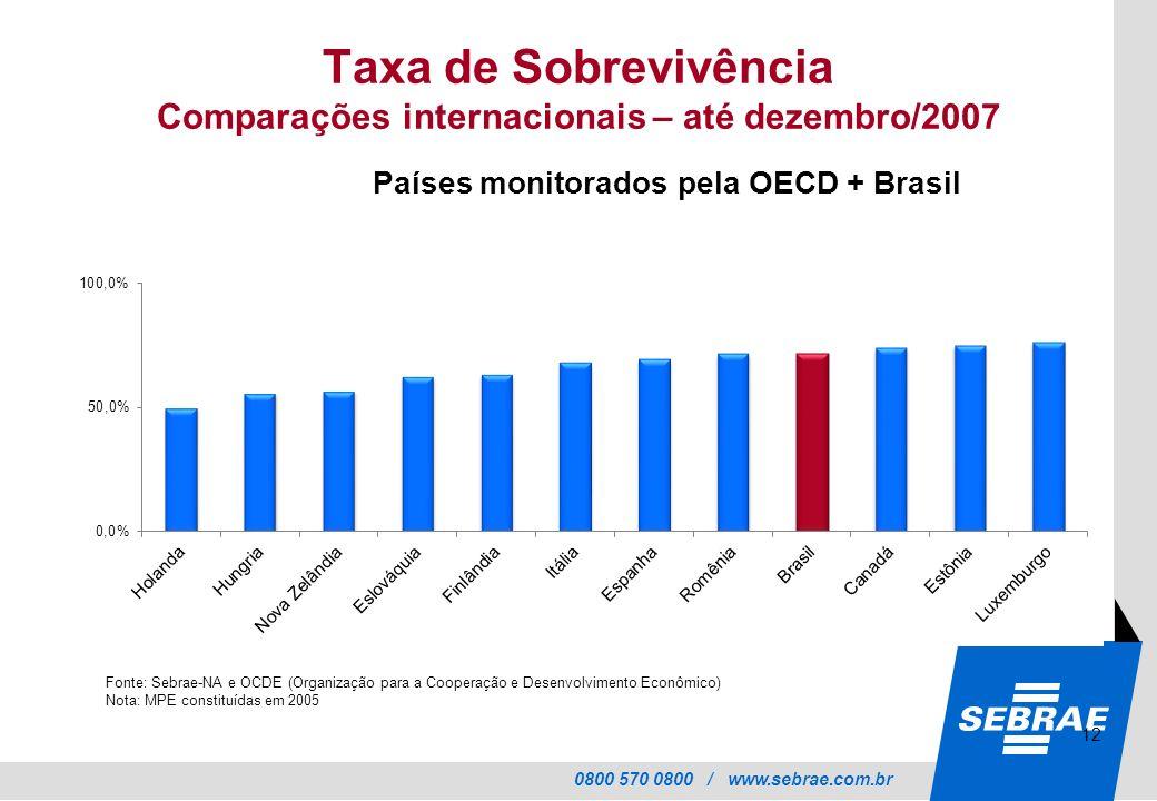 0800 570 0800 / www.sebrae.com.br Taxa de Sobrevivência Comparações internacionais – até dezembro/2007 Países monitorados pela OECD + Brasil Fonte: Sebrae-NA e OCDE (Organização para a Cooperação e Desenvolvimento Econômico) Nota: MPE constituídas em 2005 12