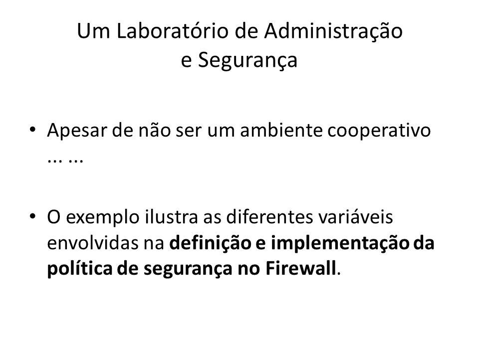 Um Laboratório de Administração e Segurança Apesar de não ser um ambiente cooperativo...... O exemplo ilustra as diferentes variáveis envolvidas na de