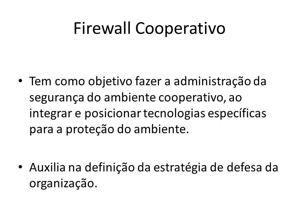 Firewall Cooperativo Tem como objetivo fazer a administração da segurança do ambiente cooperativo, ao integrar e posicionar tecnologias específicas pa