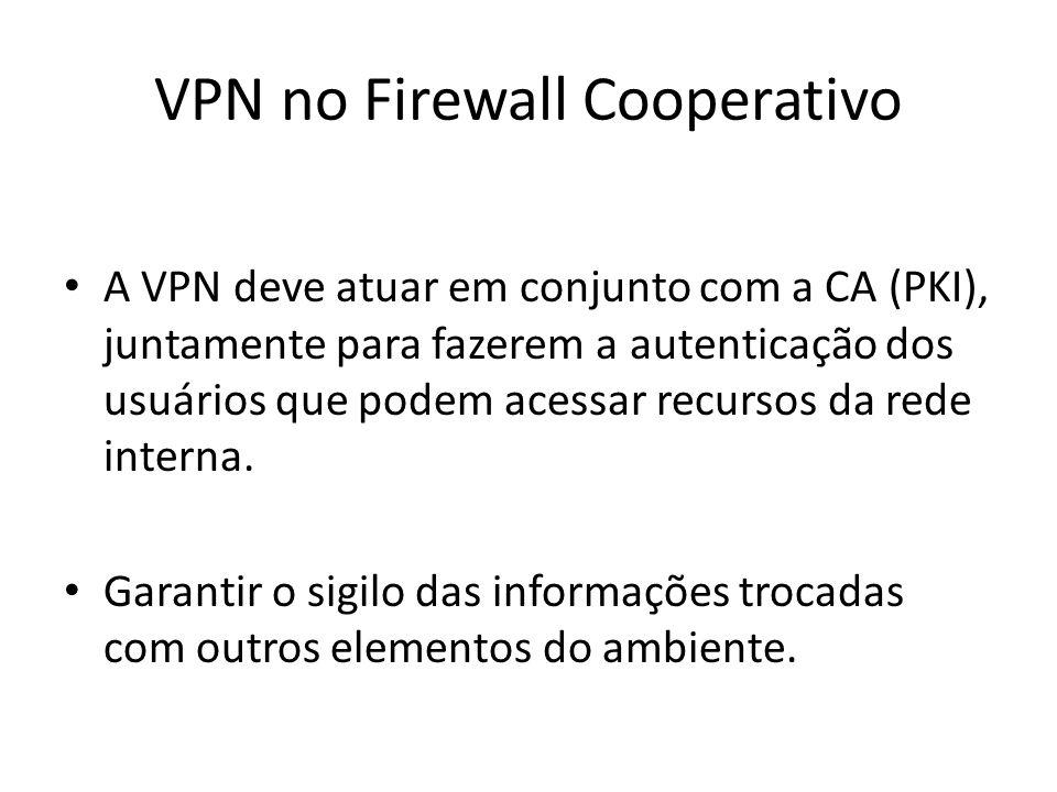 VPN no Firewall Cooperativo A VPN deve atuar em conjunto com a CA (PKI), juntamente para fazerem a autenticação dos usuários que podem acessar recurso