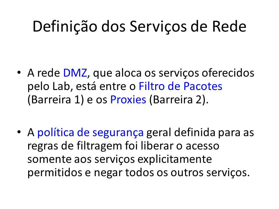Definição dos Serviços de Rede A rede DMZ, que aloca os serviços oferecidos pelo Lab, está entre o Filtro de Pacotes (Barreira 1) e os Proxies (Barrei