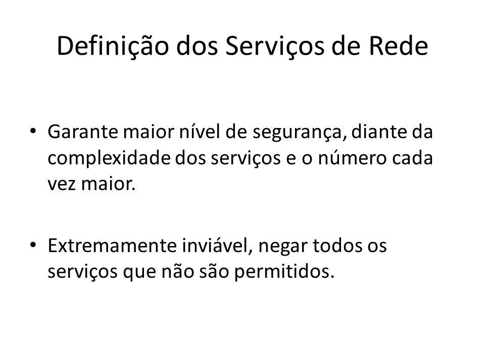 Definição dos Serviços de Rede Garante maior nível de segurança, diante da complexidade dos serviços e o número cada vez maior. Extremamente inviável,