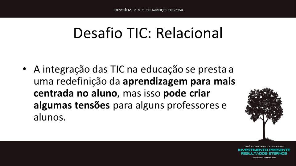 Desafio TIC: Relacional A integração das TIC na educação se presta a uma redefinição da aprendizagem para mais centrada no aluno, mas isso pode criar