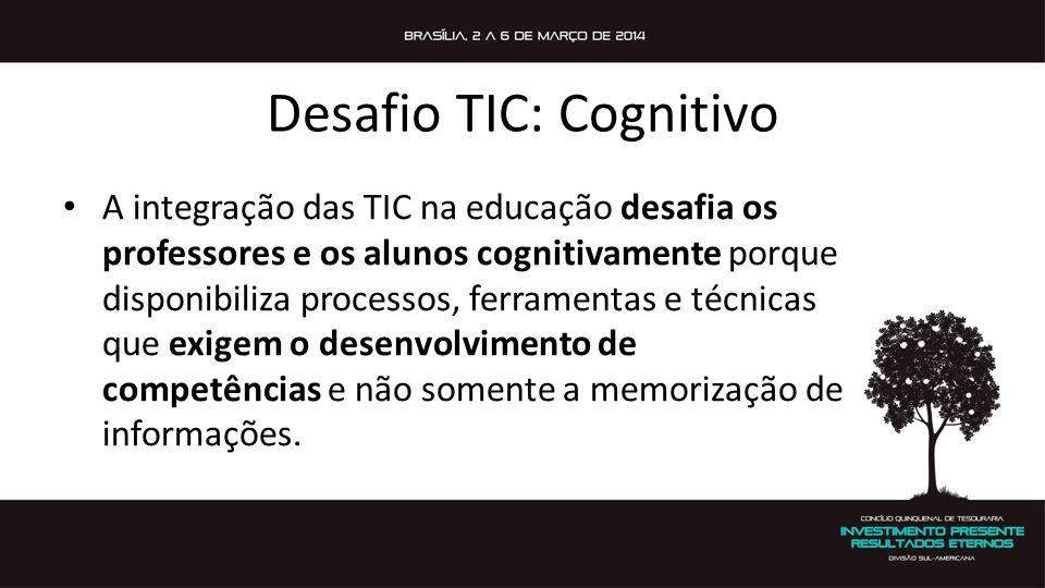 Desafio TIC: Cognitivo A integração das TIC na educação desafia os professores e os alunos cognitivamente porque disponibiliza processos, ferramentas