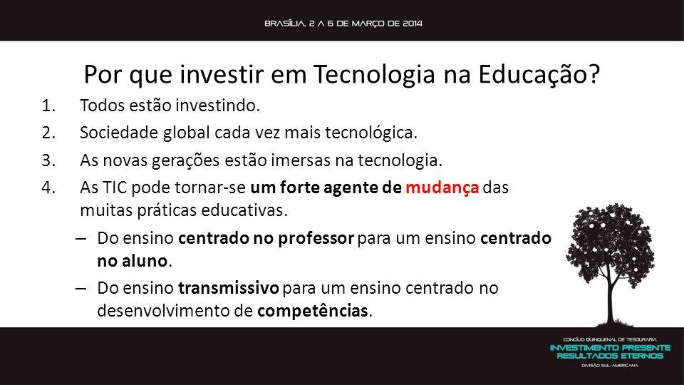 Por que investir em Tecnologia na Educação? 1.Todos estão investindo. 2.Sociedade global cada vez mais tecnológica. 3.As novas gerações estão imersas