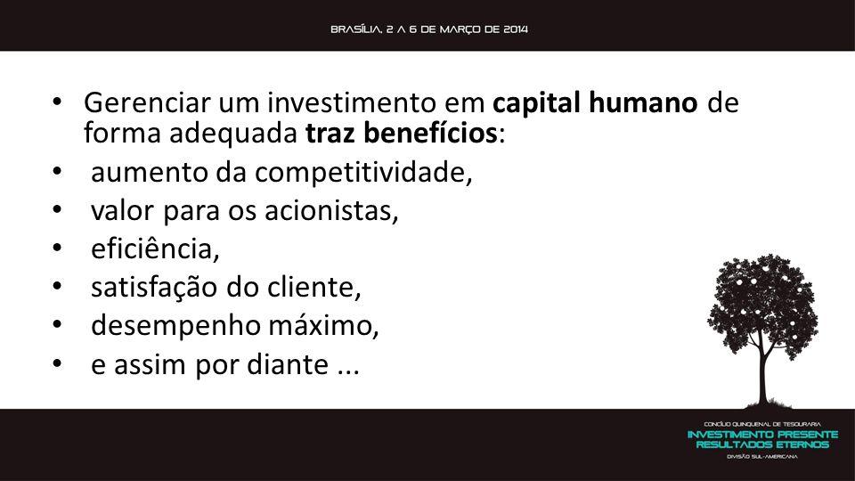 Gerenciar um investimento em capital humano de forma adequada traz benefícios: aumento da competitividade, valor para os acionistas, eficiência, satis