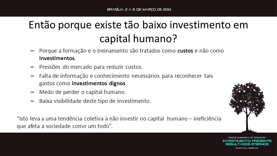 Então porque existe tão baixo investimento em capital humano? – Porque a formação e o treinamento são tratados como custos e não como investimentos. –