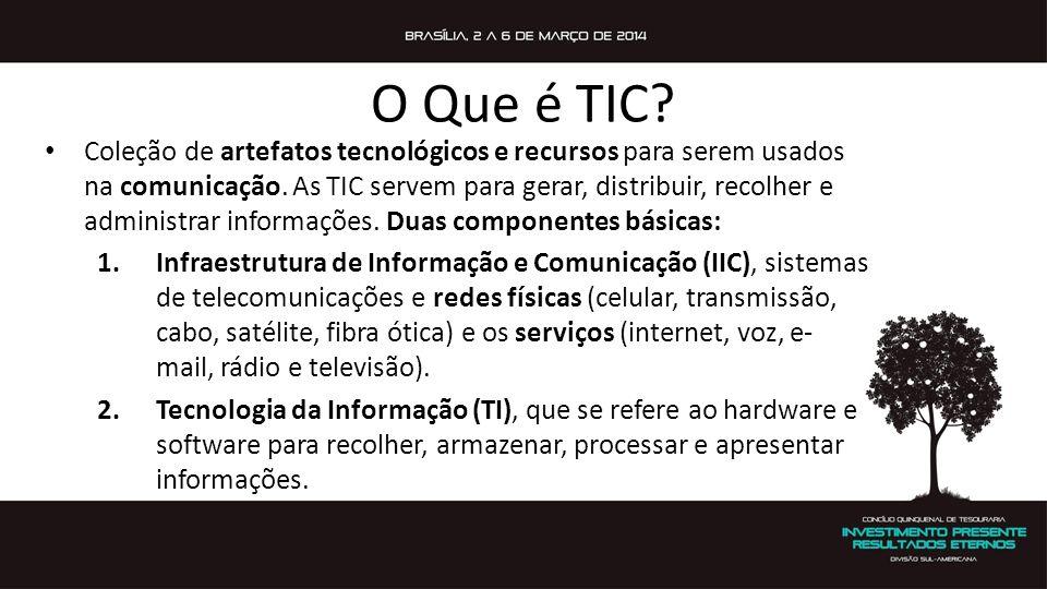 O Que é TIC? Coleção de artefatos tecnológicos e recursos para serem usados na comunicação. As TIC servem para gerar, distribuir, recolher e administr