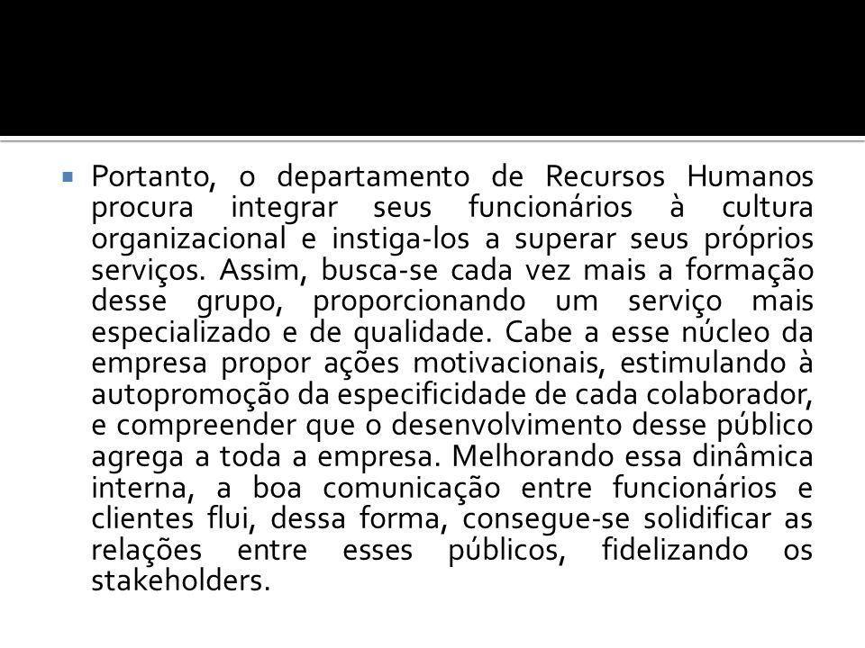 Portanto, o departamento de Recursos Humanos procura integrar seus funcionários à cultura organizacional e instiga-los a superar seus próprios serviço