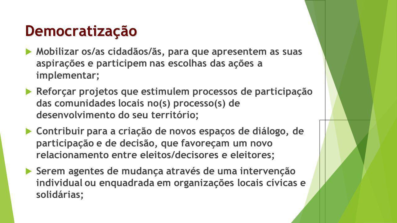 Democratização Mobilizar os/as cidadãos/ãs, para que apresentem as suas aspirações e participem nas escolhas das ações a implementar; Reforçar projeto