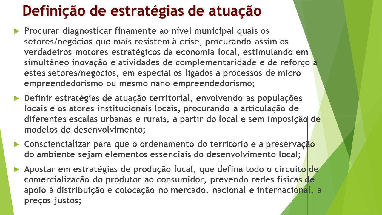 Definição de estratégias de atuação Procurar diagnosticar finamente ao nível municipal quais os setores/negócios que mais resistem à crise, procurando