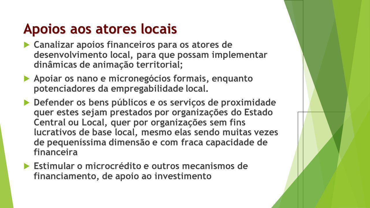 Apoios aos atores locais Canalizar apoios financeiros para os atores de desenvolvimento local, para que possam implementar dinâmicas de animação terri