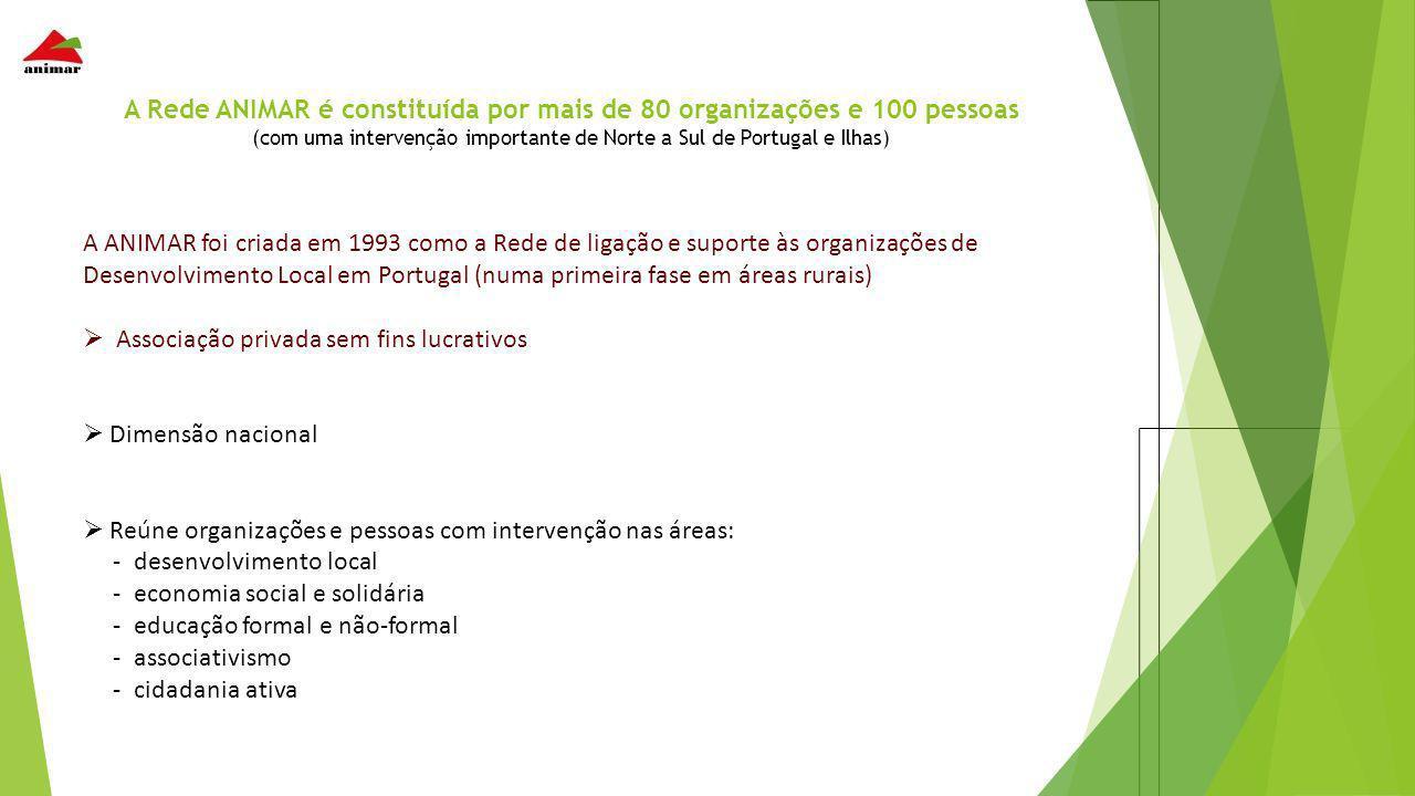 A Rede ANIMAR é constituída por mais de 80 organizações e 100 pessoas (com uma intervenção importante de Norte a Sul de Portugal e Ilhas) A ANIMAR foi